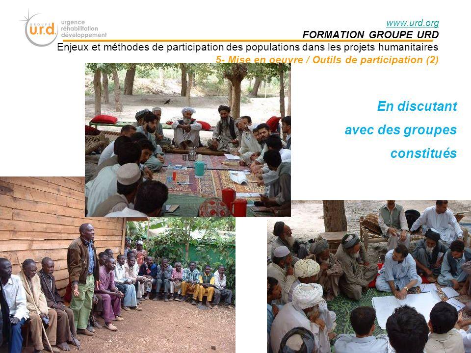 En discutant avec des groupes constitués FORMATION GROUPE URD