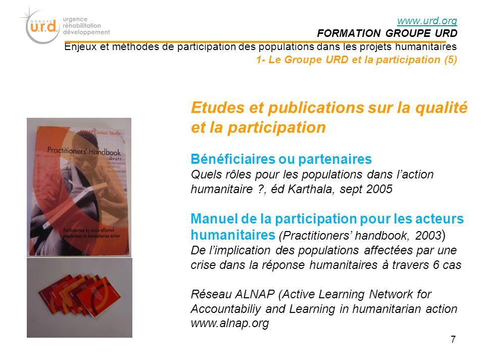 Etudes et publications sur la qualité et la participation