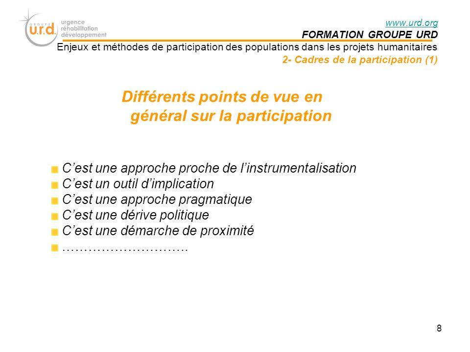 Différents points de vue en général sur la participation