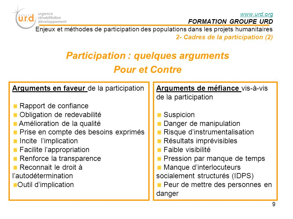 Participation : quelques arguments