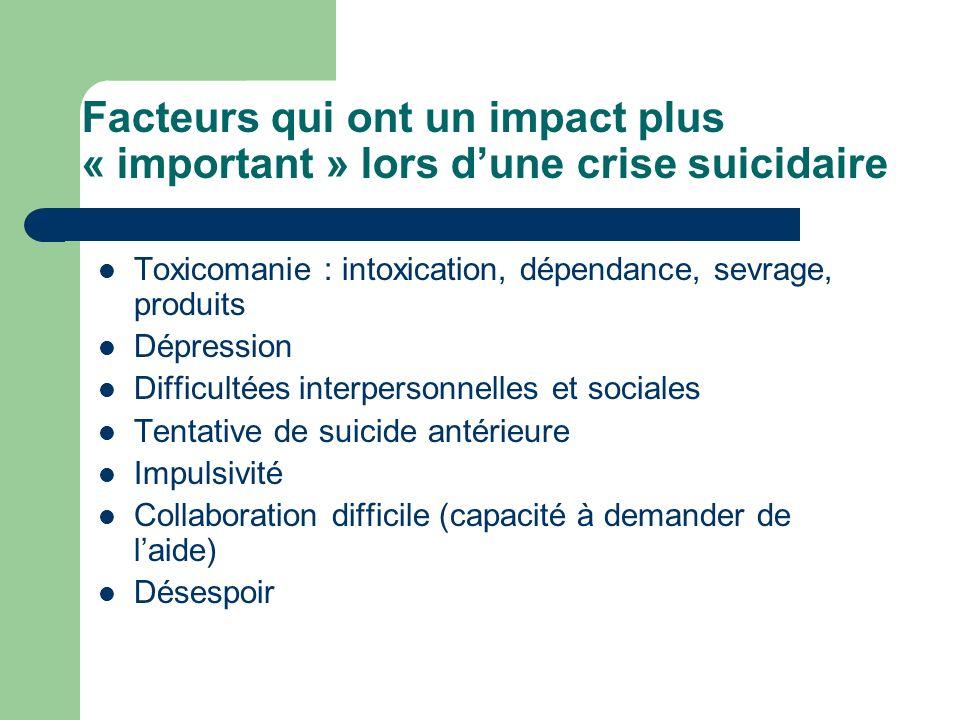 Facteurs qui ont un impact plus « important » lors d'une crise suicidaire