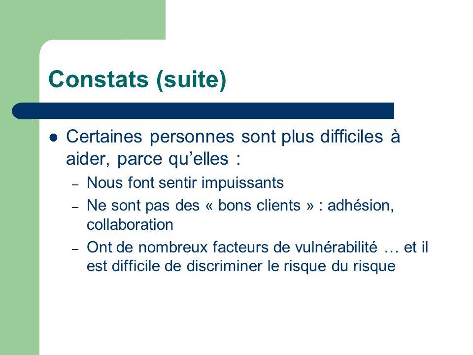 Constats (suite)Certaines personnes sont plus difficiles à aider, parce qu'elles : Nous font sentir impuissants.