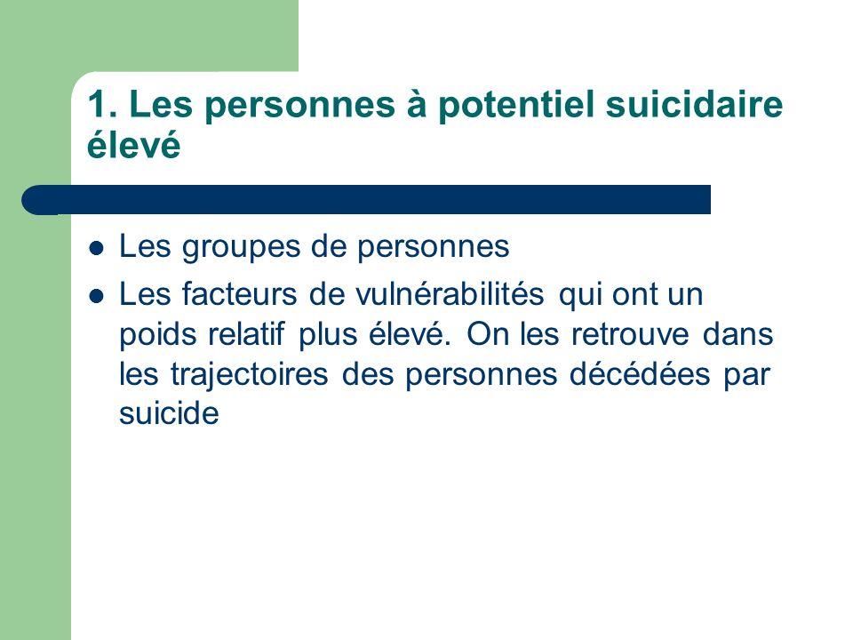 1. Les personnes à potentiel suicidaire élevé