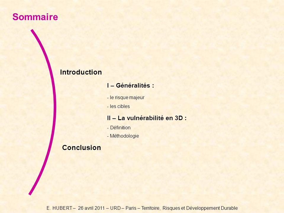 Sommaire Introduction I – Généralités : II – La vulnérabilité en 3D :