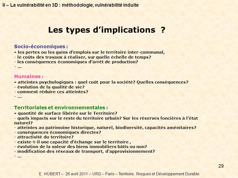 Les types d'implications