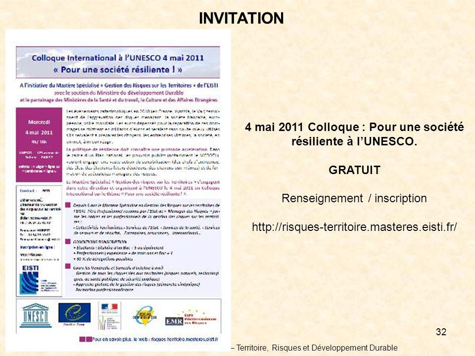 4 mai 2011 Colloque : Pour une société résiliente à l'UNESCO.