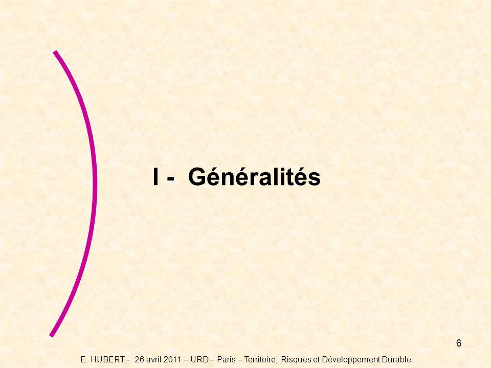 I - Généralités E.