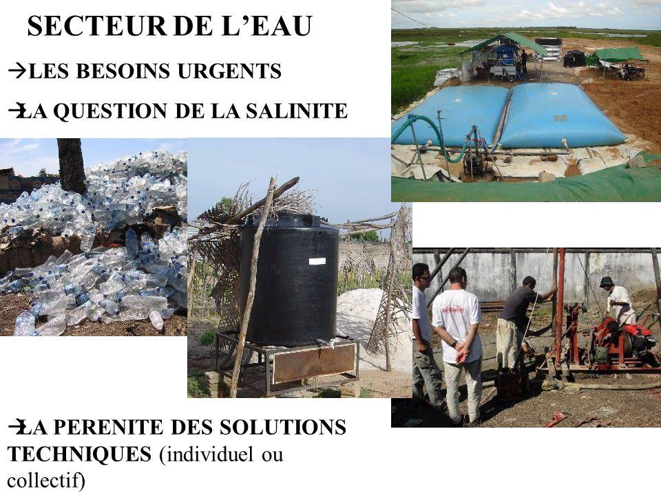 SECTEUR DE L'EAU LES BESOINS URGENTS LA QUESTION DE LA SALINITE