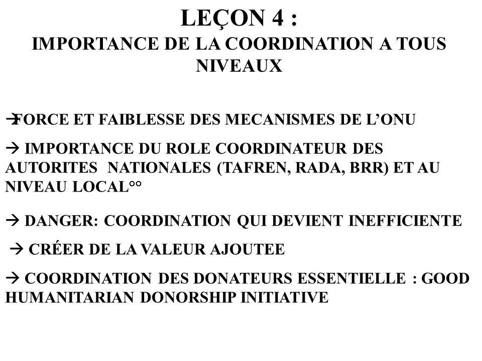 LEÇON 4 : IMPORTANCE DE LA COORDINATION A TOUS NIVEAUX