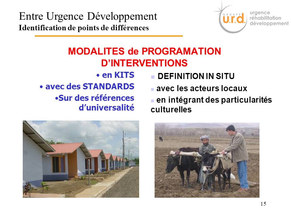 MODALITES de PROGRAMATION D'INTERVENTIONS
