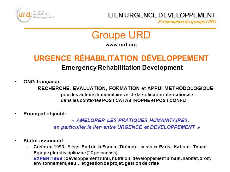 Groupe URD URGENCE RÉHABILITATION DÉVELOPPEMENT