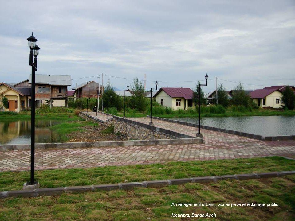 Aménagement urbain : accès pavé et éclairage public,