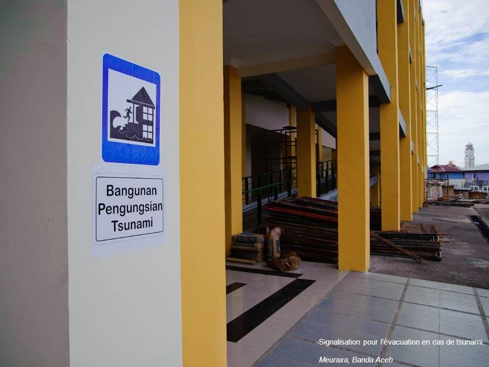 Signalisation pour l'évacuation en cas de tsunami.