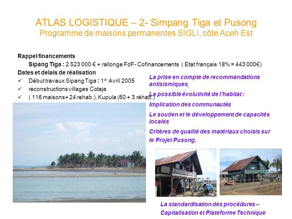ATLAS LOGISTIQUE – 2- Simpang Tiga et Pusong Programme de maisons permanentes SIGLI, côte Aceh Est