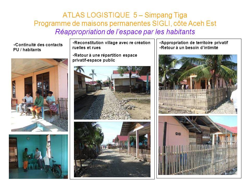 ATLAS LOGISTIQUE 5 – Simpang Tiga Programme de maisons permanentes SIGLI, côte Aceh Est Réappropriation de l'espace par les habitants