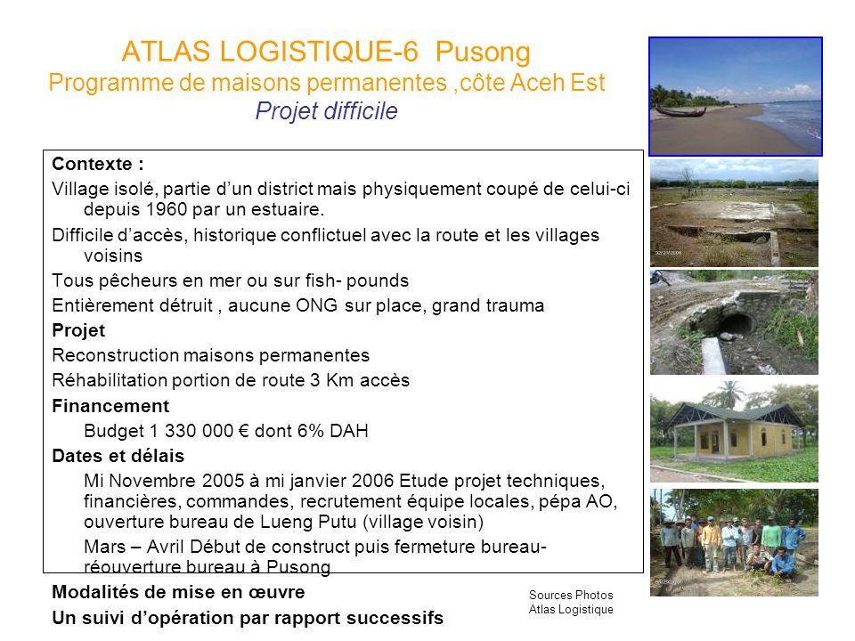 ATLAS LOGISTIQUE-6 Pusong Programme de maisons permanentes ,côte Aceh Est Projet difficile
