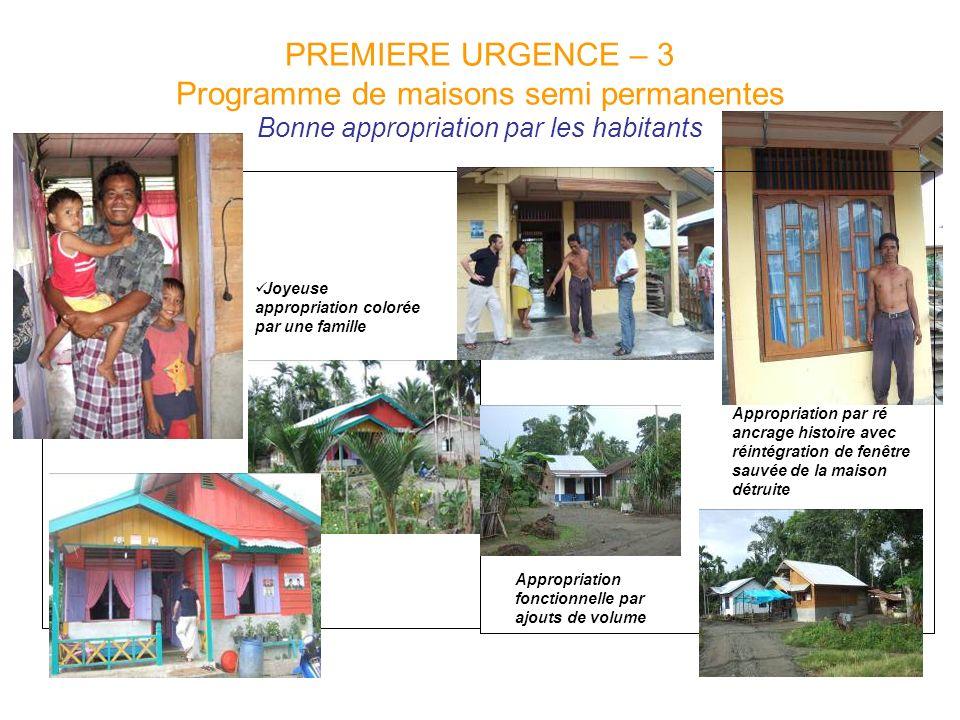 PREMIERE URGENCE – 3 Programme de maisons semi permanentes Bonne appropriation par les habitants