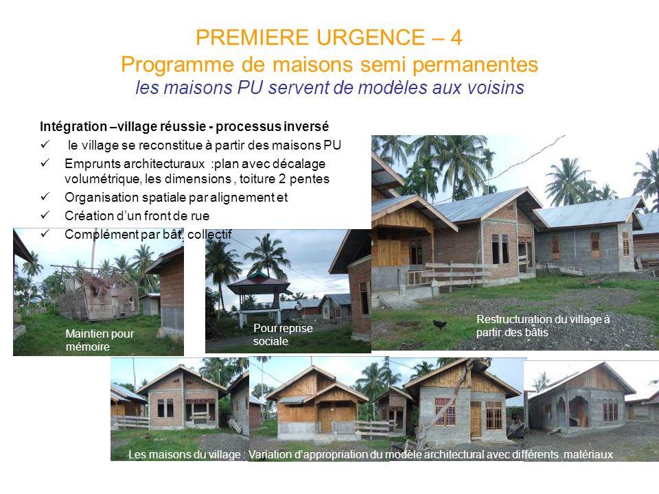 PREMIERE URGENCE – 4 Programme de maisons semi permanentes les maisons PU servent de modèles aux voisins