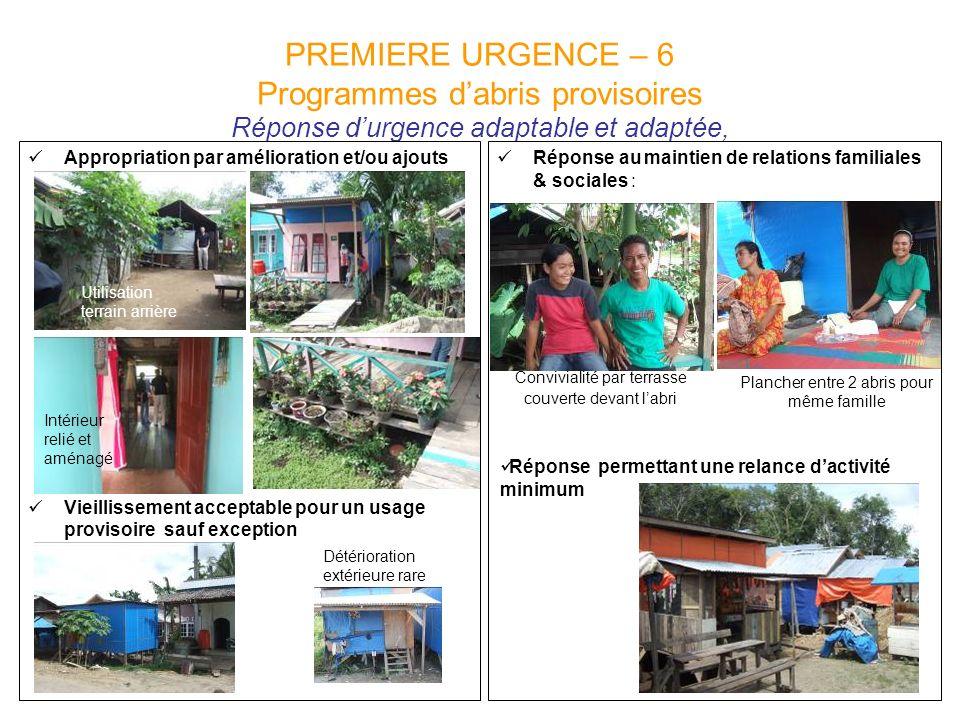 PREMIERE URGENCE – 6 Programmes d'abris provisoires Réponse d'urgence adaptable et adaptée,