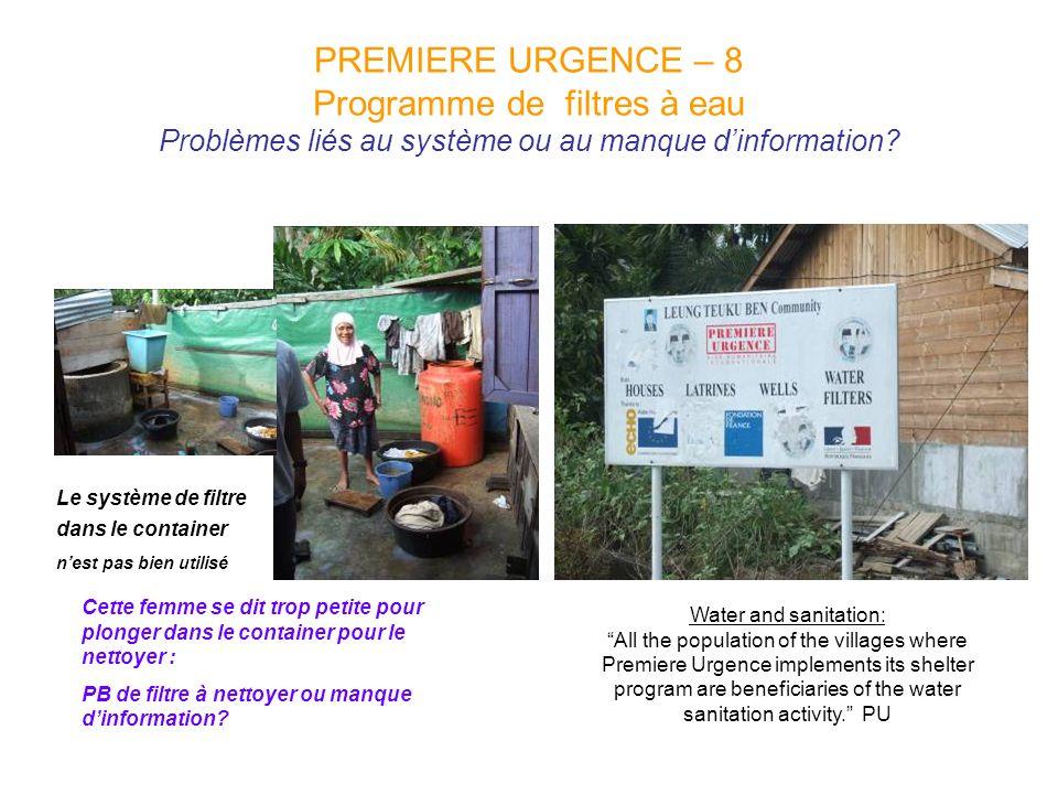 PREMIERE URGENCE – 8 Programme de filtres à eau Problèmes liés au système ou au manque d'information