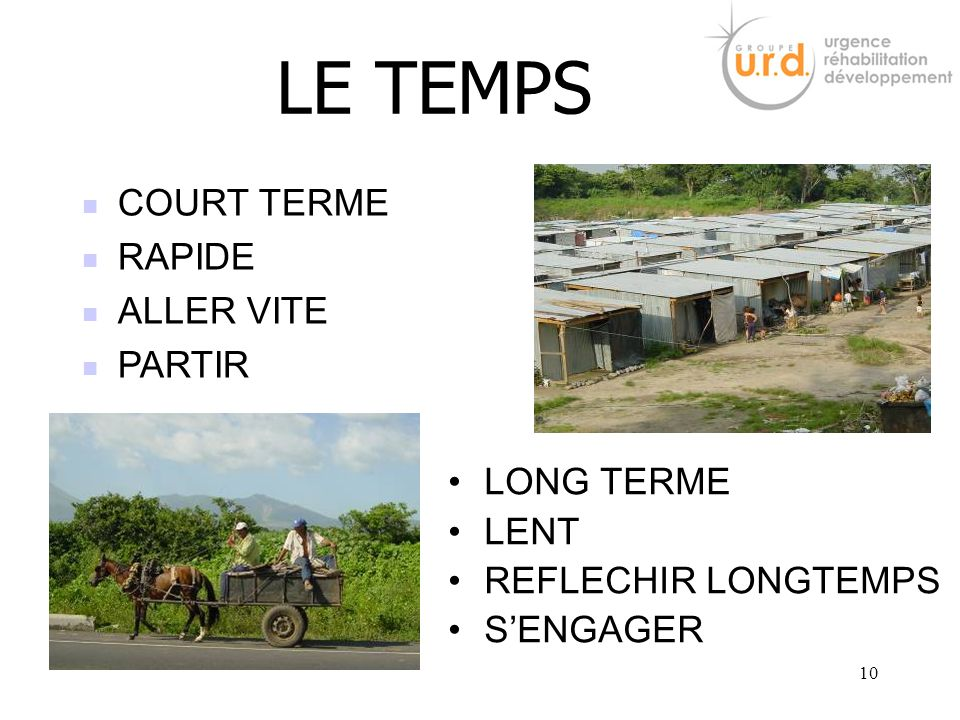 LE TEMPS COURT TERME RAPIDE ALLER VITE PARTIR LONG TERME LENT