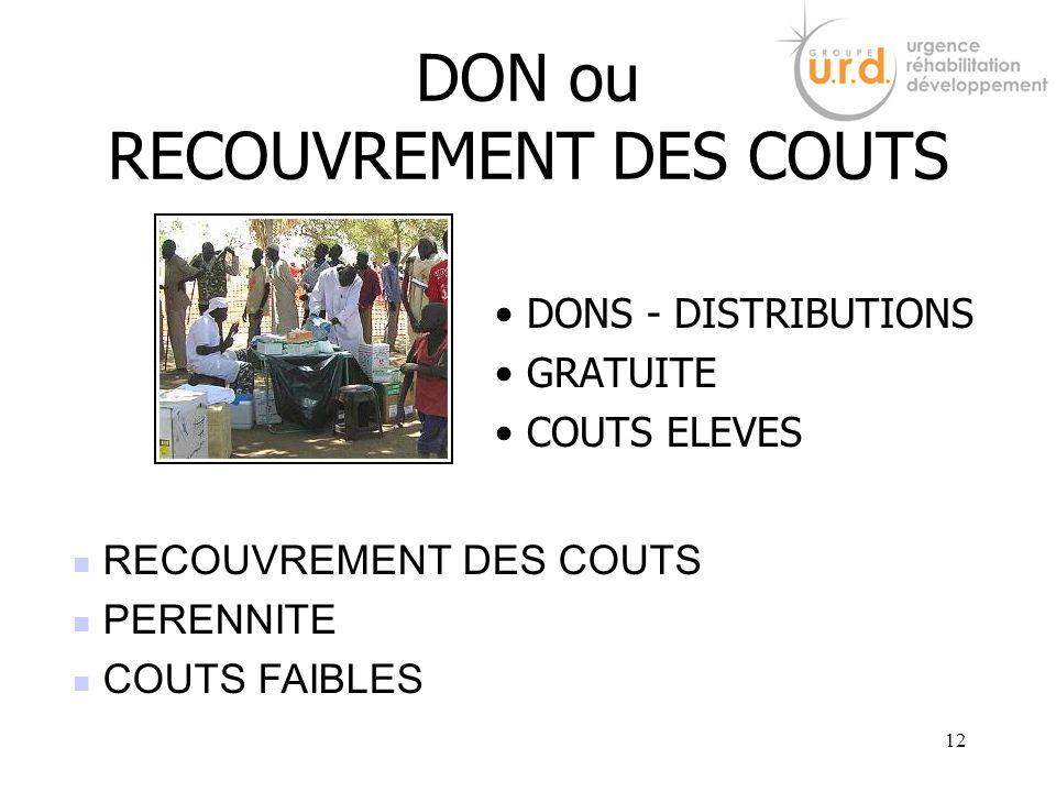 DON ou RECOUVREMENT DES COUTS