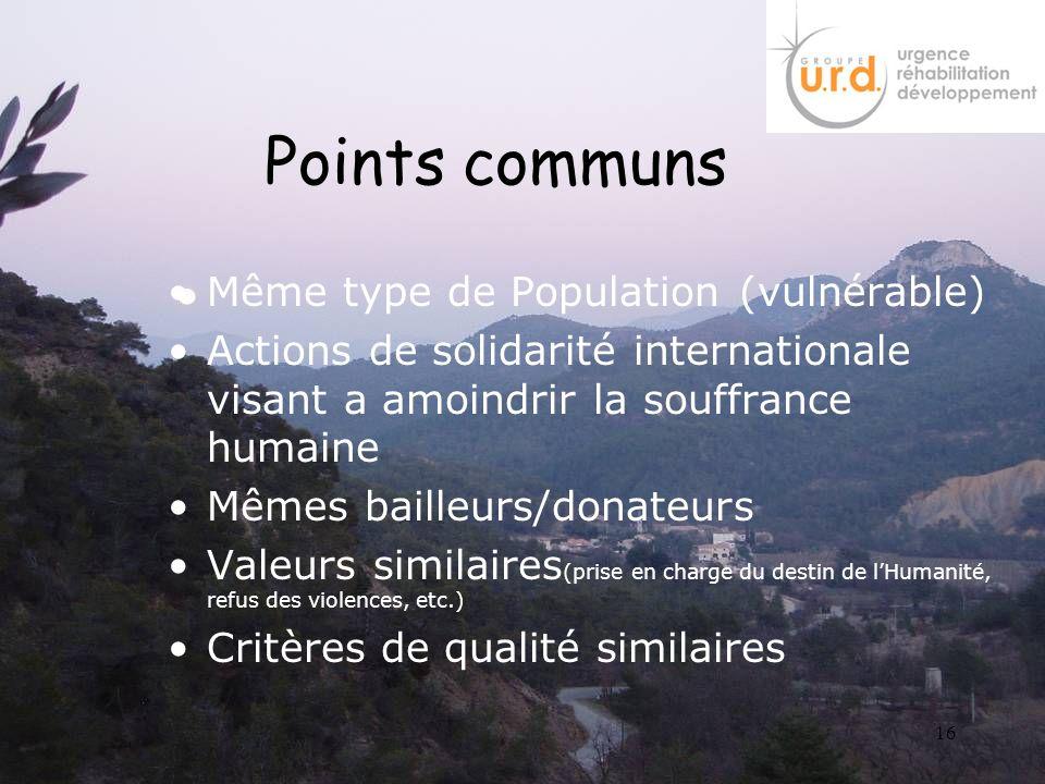 Points communs Même type de Population (vulnérable)