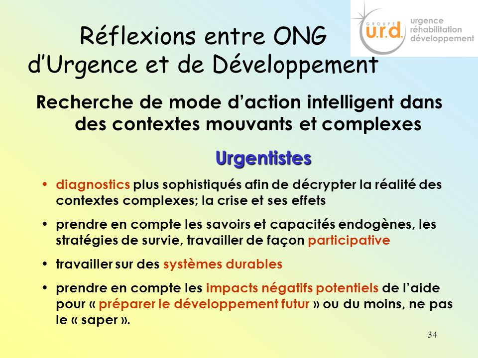 Réflexions entre ONG d'Urgence et de Développement