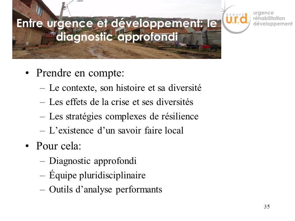 Entre urgence et développement: le diagnostic approfondi