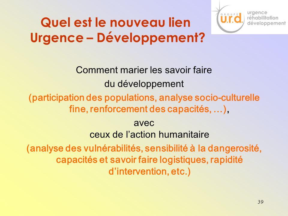 Quel est le nouveau lien Urgence – Développement