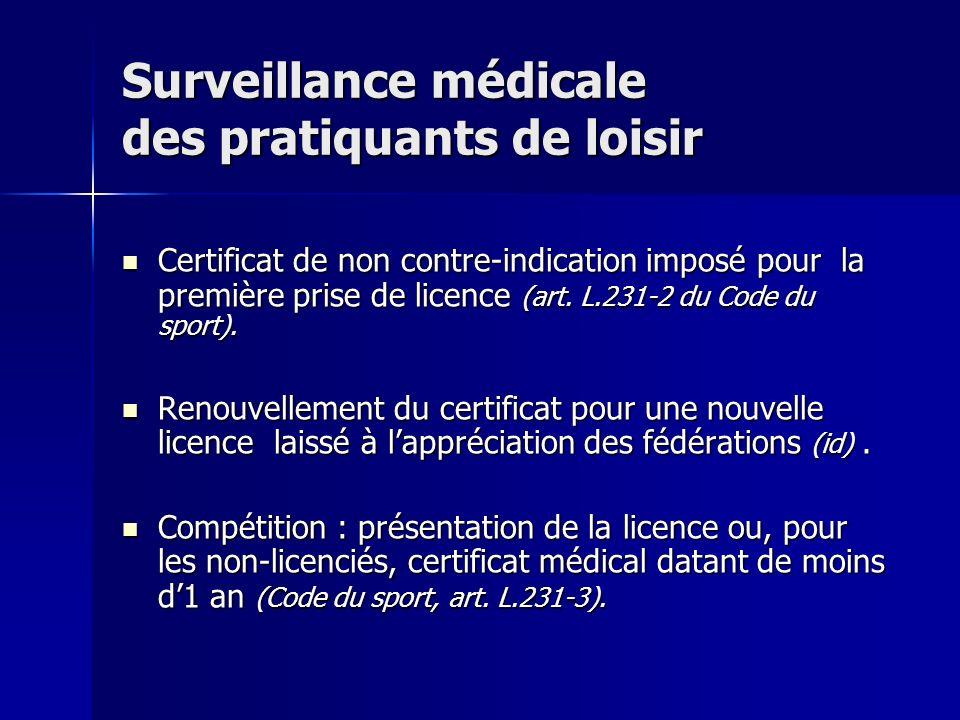 Surveillance médicale des pratiquants de loisir