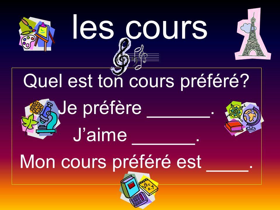 les cours Quel est ton cours préféré Je préfère ______.