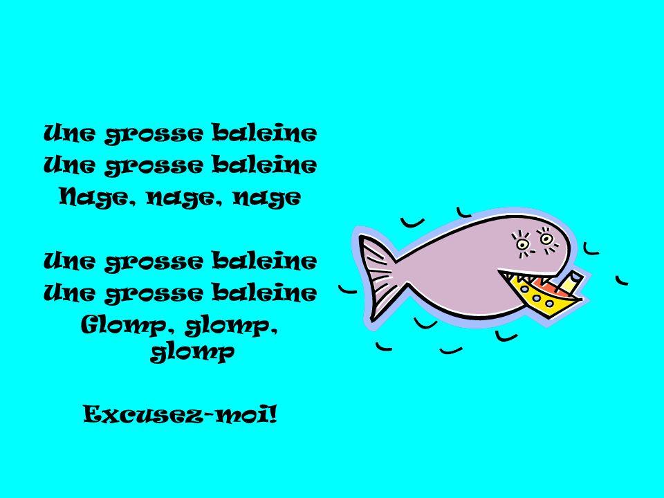 Une grosse baleine Nage, nage, nage Glomp, glomp, glomp Excusez-moi!