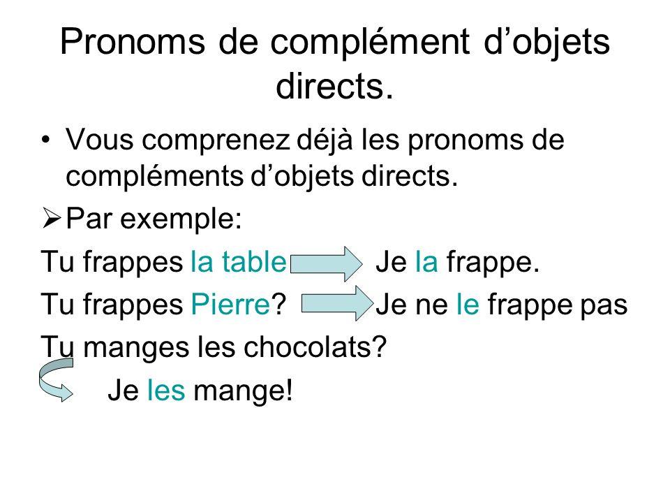 Pronoms de complément d'objets directs.