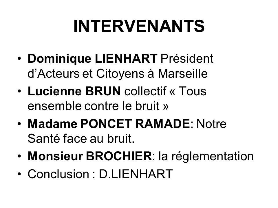 INTERVENANTS Dominique LIENHART Président d'Acteurs et Citoyens à Marseille. Lucienne BRUN collectif « Tous ensemble contre le bruit »