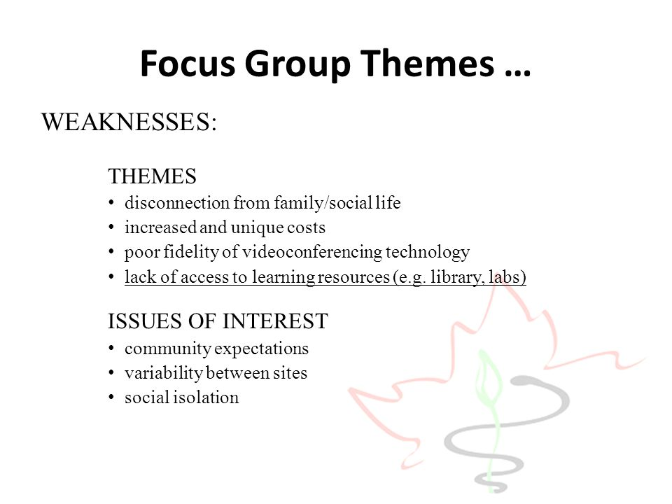 Focus Group Themes … WEAKNESSES: ISSUES OF INTEREST