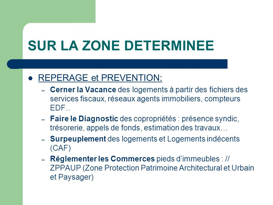 SUR LA ZONE DETERMINEE REPERAGE et PREVENTION: