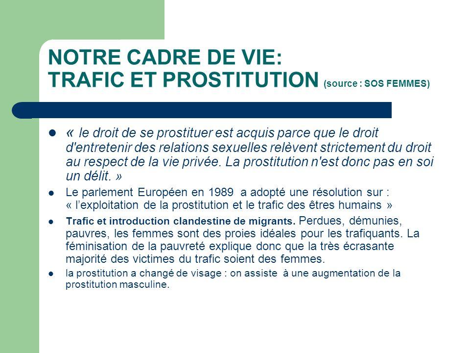 NOTRE CADRE DE VIE: TRAFIC ET PROSTITUTION (source : SOS FEMMES)