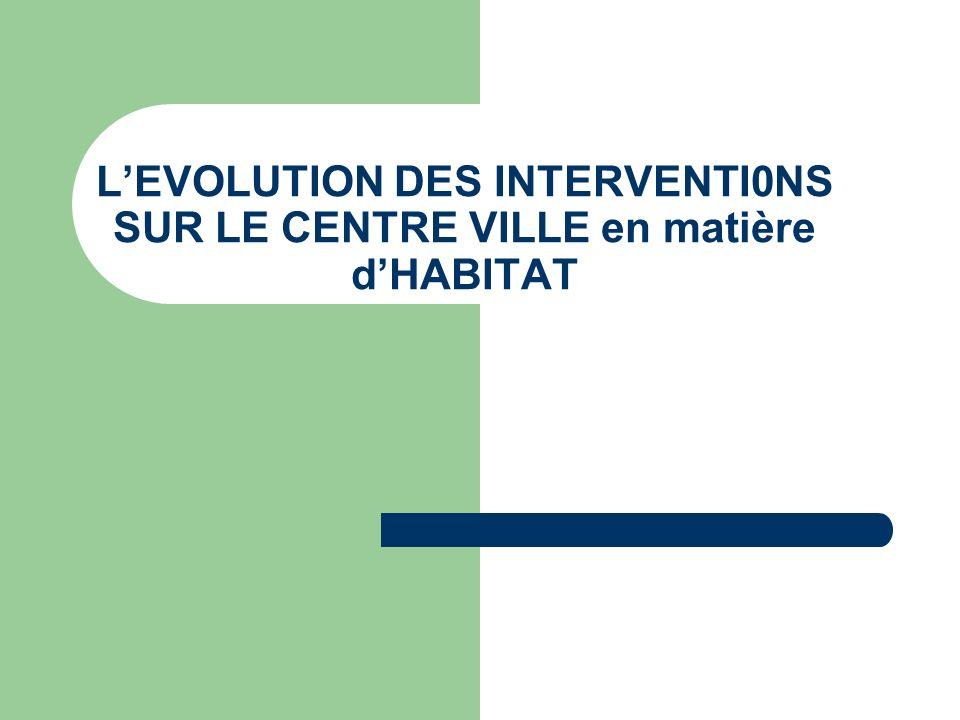 L'EVOLUTION DES INTERVENTI0NS SUR LE CENTRE VILLE en matière d'HABITAT