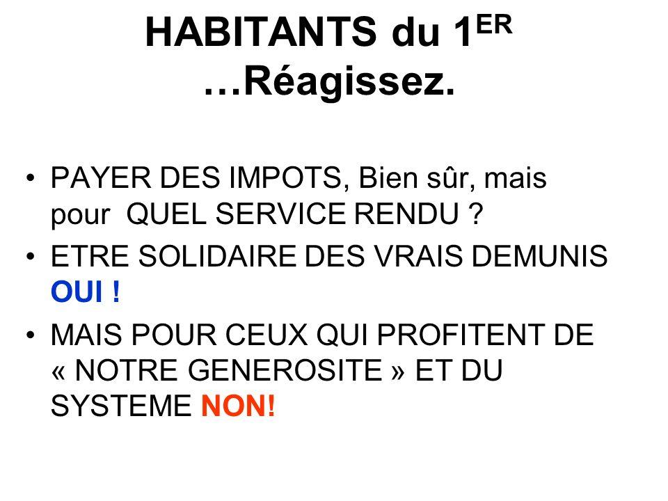HABITANTS du 1ER …Réagissez.