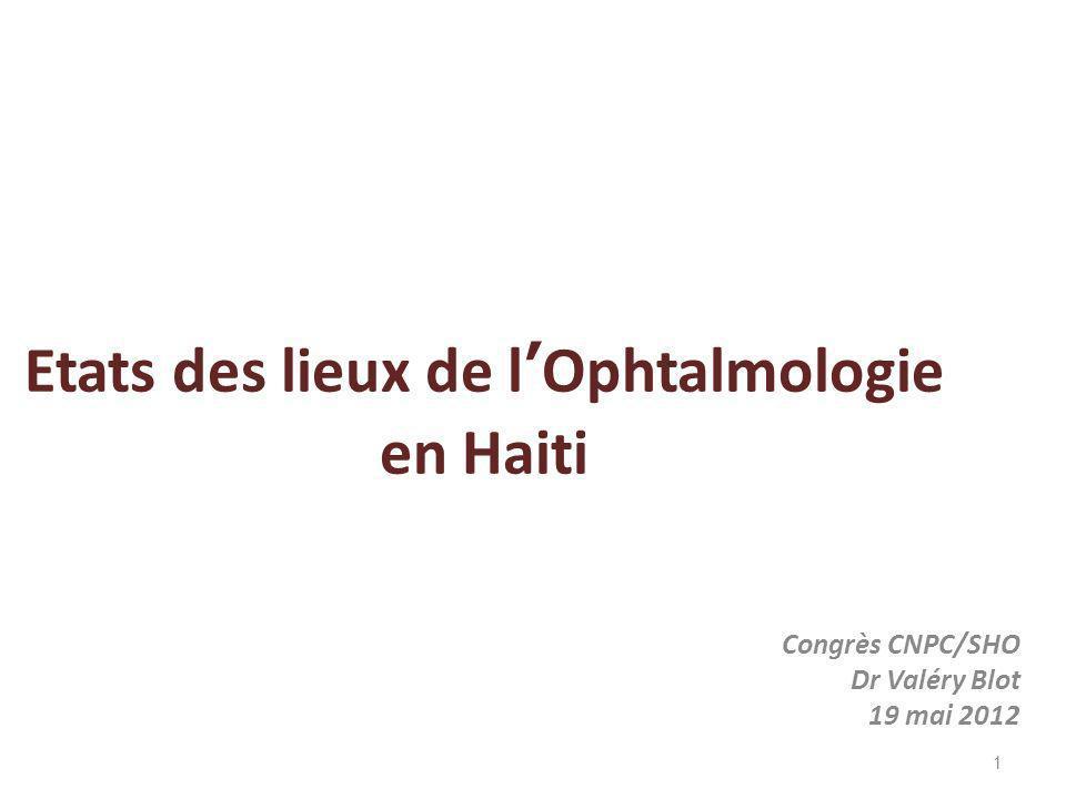 Etats des lieux de l'Ophtalmologie en Haiti