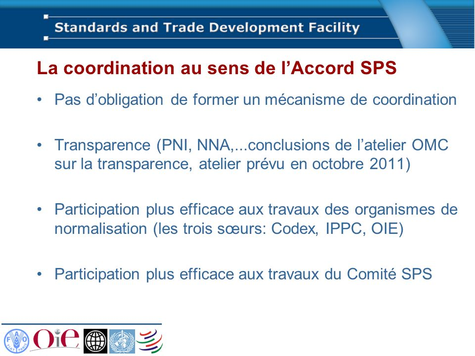 La coordination au sens de l'Accord SPS