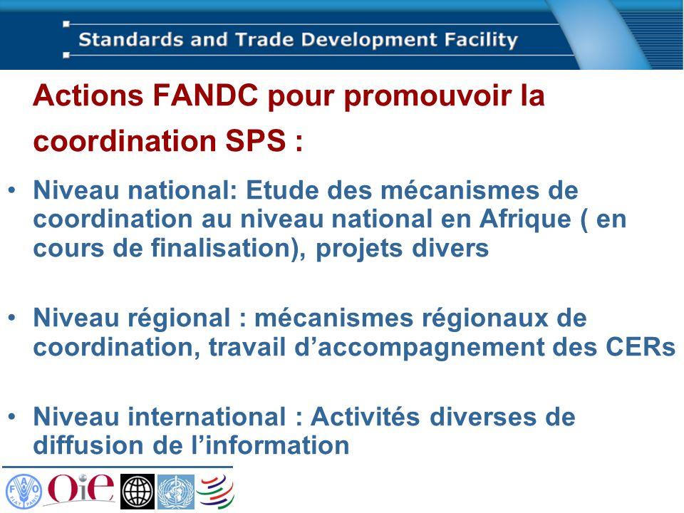 Actions FANDC pour promouvoir la coordination SPS :