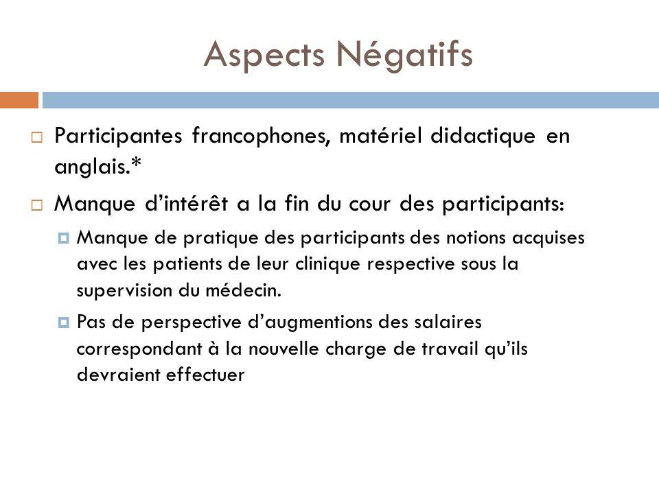 Aspects Négatifs Participantes francophones, matériel didactique en anglais.* Manque d'intérêt a la fin du cour des participants: