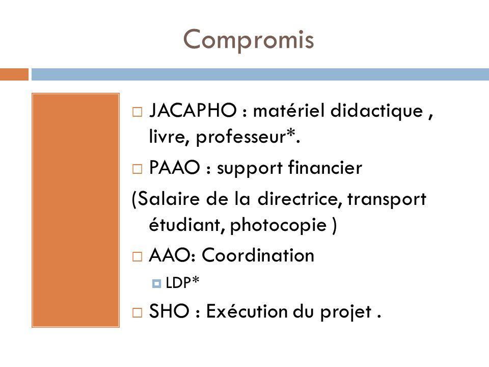 Compromis JACAPHO : matériel didactique , livre, professeur*.