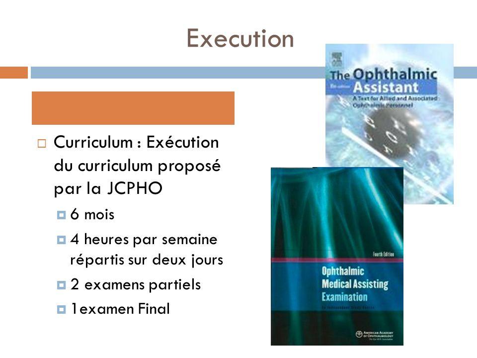 Execution Curriculum : Exécution du curriculum proposé par la JCPHO