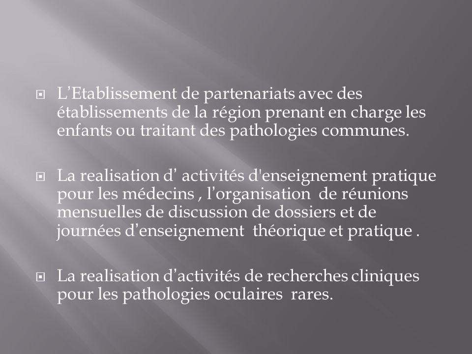 L'Etablissement de partenariats avec des établissements de la région prenant en charge les enfants ou traitant des pathologies communes.