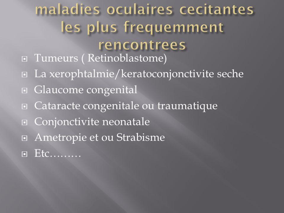 maladies oculaires cecitantes les plus frequemment rencontrees