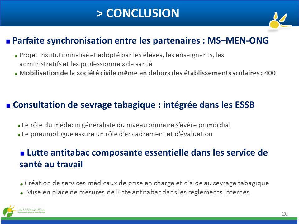 > CONCLUSION Parfaite synchronisation entre les partenaires : MS–MEN-ONG. Projet institutionnalisé et adopté par les élèves, les enseignants, les.
