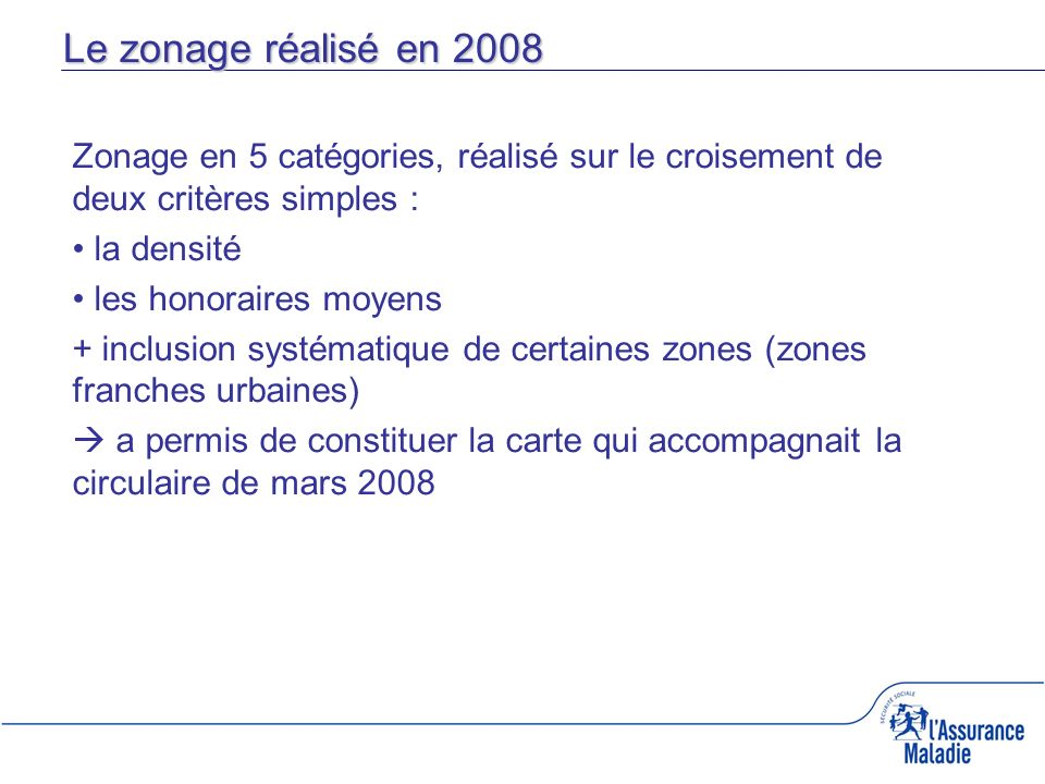 Le zonage réalisé en 2008 Zonage en 5 catégories, réalisé sur le croisement de deux critères simples :
